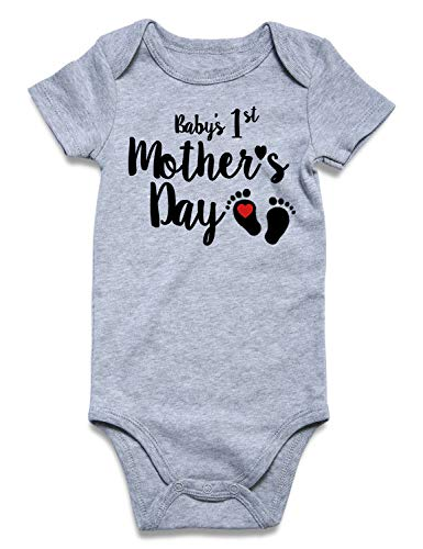 - UNICOMIDEA Baby One Pieces Infant Play Suit Girls Clothes of Mother's Day Printed Short Sleeve Romper Bodysuit Jumpsuit Outfit Black 6-9 Months