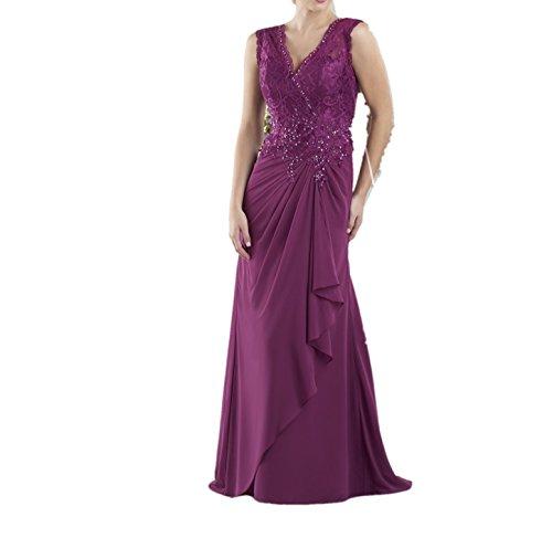 La_Marie Braut Traube Spitze Chiffon V-ausschnitt Abendkleider Ballkleider Partykleider Festlichkleider Neu
