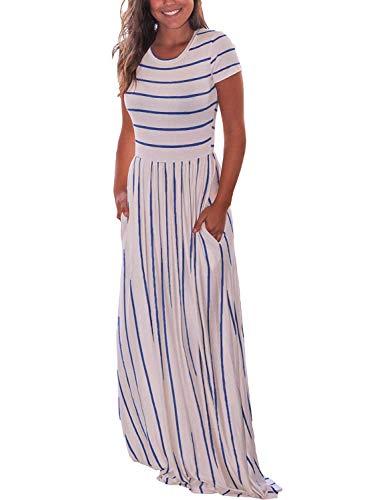 Roseseedlove Women Short Sleeve Elastic Waist Loose Long Dress Casual Striped Round Neck - Maxi Long Dress Side Pocket(White-Blue-Stripe-l)