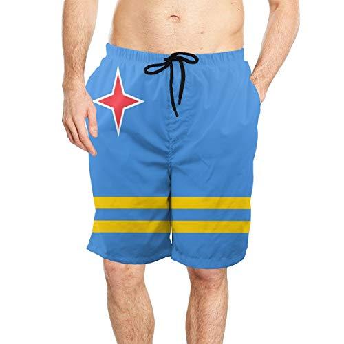 - Aruba Flag Men's Comfortable Beach Swim Trunks Quick Dry Board Shorts with Mesh Lining White