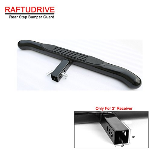 RAFTUDRIVE Black Universal Hitch Step Rear Step Bumper Guard For vehicles with 2″ Receiver