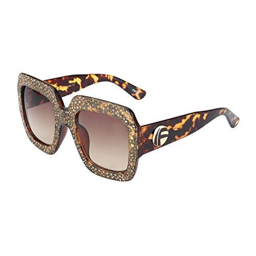Large Women Designer Sunglasses - ROYAL GIRL Square Sunglasses For Women Vintage Oversized Inspired Designer Crystal Fashion Shades (Leopard-Brown, 67)
