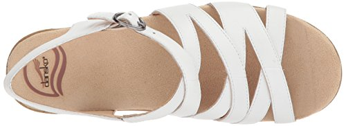 Dansko Womens Stevie Flat Sandal White Leather
