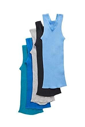 Bonds Baby Cotton Baby Vest (5 Pack), Dark Blues, 0000 (Newborn)