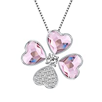 Xuping Charm Flower Style Pendant Necklace Crystals from Swarovski Women Girl Jewelry Birthday Party Gifts (Roseline)