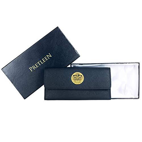 PRETLEEN Women's RFID Blocking Real Leather Zip Around Wallet Clutch Large Travel Purse Wristlet (Black)