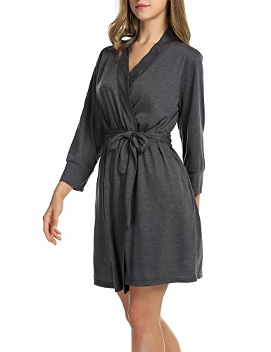 Design Robe Hook - Hotouch Womens Llightweight Robe 3/4 Sleeves Bathrobe Collar Spa Robe Gray S
