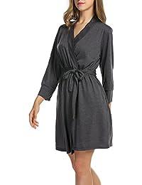 Women's Robe Soft Kimono Cotton Breathable Hotel Spa Bathrobe Sleeve Short Sleepwear S-XXL