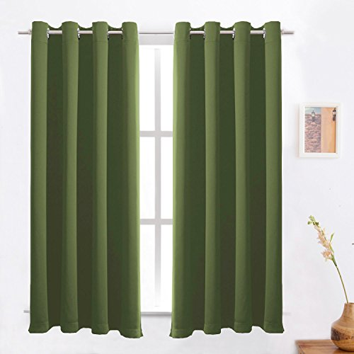 Brown Gold Olive (Blackout Curtains /Room Darkening/Light Blocking/Thermal Insulated Draperies With Solid Grommet for Bedroom/Living Room Window Treatments Olive 2 Panels , 52 x 63 Inch By FLOWEROOM)