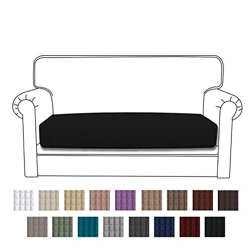 Easy-Going Stretch Cushion Cover Sofa Cushion Furniture Protector Sofa Seat Sofa slipcover Sofa Cover Soft Flexibility with Elastic Bottom(loveseat Cushion,Black)
