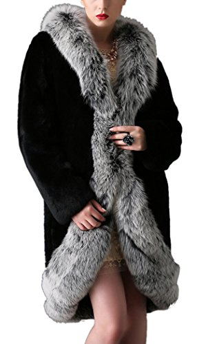Women's Black Winter Fox Parka Outerwear Long Sleeve Faux Fur Party Overcoat Coat (Plus Size Go Go Gorgeous Costumes)