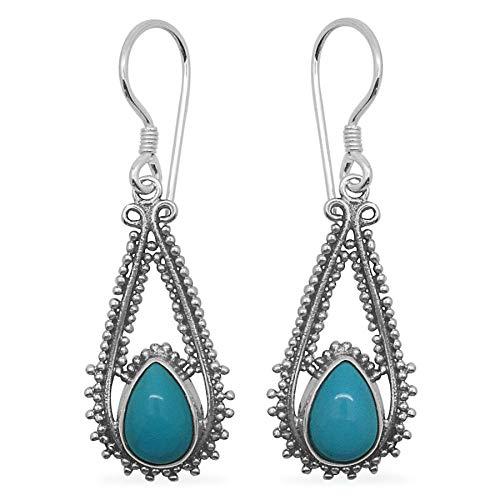 Pendientes colgantes, pendientes de perlas turquesas, pendientes de gota, pendientes de plata con piedras preciosas de color para mujeres Sterling Silver Drop Earrings