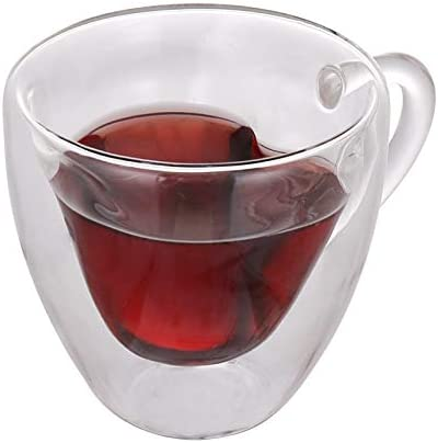 Amazon.com | Wandeful Creative Heart Shaped Heat resistant Insulated Glass Coffee Mugs or Tea Cups, Double Wall Glass, Clear, Unique & Insulated with Handle, 150ml: Espresso Cups