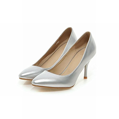 Carolbar Women's Fashion Sexy Stiletto High Heel Pointed Toe Dress Shoes Silver ktlTrgtJk