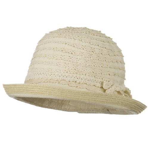 - Woman's Ribbon Lace Braid Hat - Beige