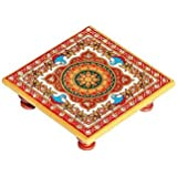Handicrafts Paradise Intricate Floral Painted Marble Chowki (10.2 cm x 10.2 cm x 2.55 cm)