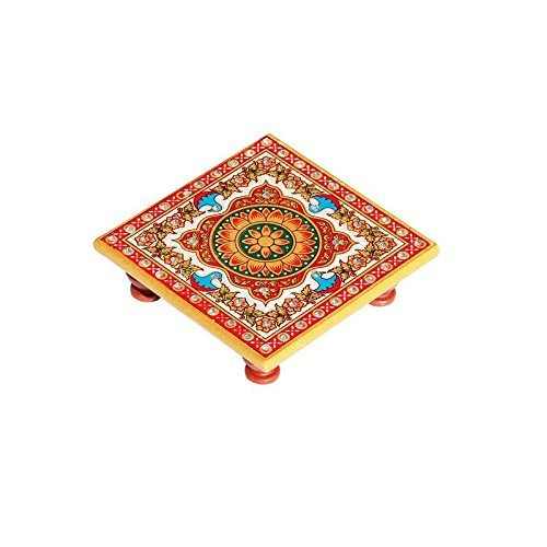 HANDICRAFTS PARADISE Marble Chowki With Intricate Floral Painting (Decor Pooja Home)