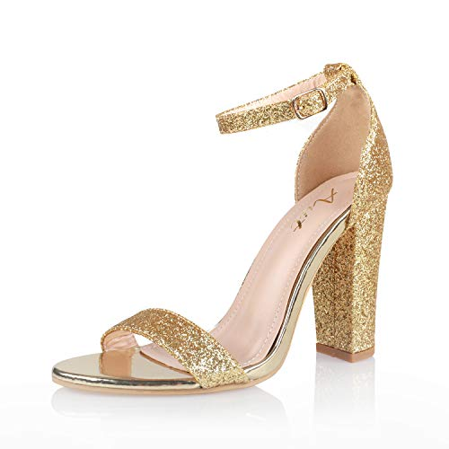 AIIT Women's Chunky High Heel Sandals Gold Pumps 1920s Gatsby Sparkling Block Stiletto Heels Fashion Dress Party Shoes for Women Size 9