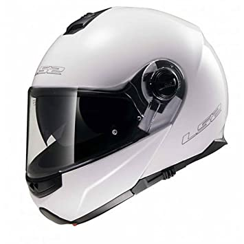 Casco Moto Modular LS2 doble visera FF 325 Strobe Blanco brillante MEDIUM