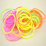 10Pcs Elastic Stretchy Luminous Rubber Silicone Hair Rop Fluorescent Bangle Hand Ring Random Colors