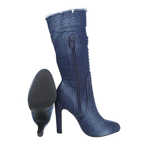 Boots Design Blue Boots Stiletto Ital at Women's Heeled 4HxpSnfqq