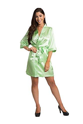 Zynotti Womens Lime Green Satin Blank Robe 1X/2X 22-26