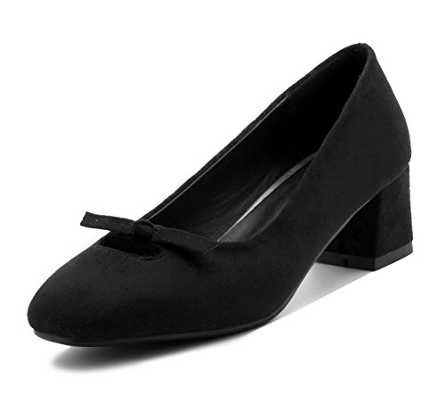 Shoes Square Heels Frosted Women's Pumps Black Kitten Toe Solid WeenFashion Pull On qv0ATx