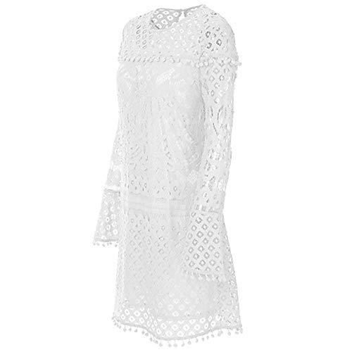 Vestido Primavera Recto White JIZHI Algodón Midi Mujer XXL Noche wqRI4a