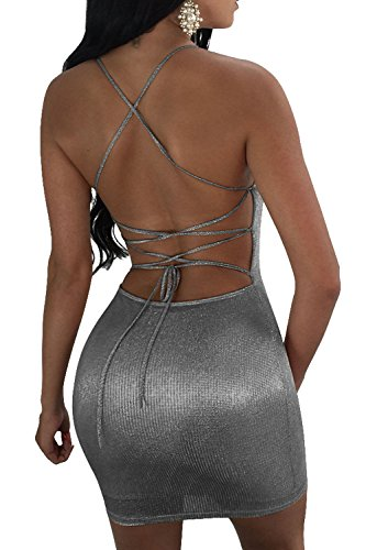 Bodycon Vestido Espaguetis Plain Cut Mujeres Silver De Shiny Correas Low Vendaje De Hot Backless C5xYxv