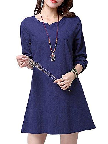 Elegant Mini Cotton Straight Dress Blue V Vintage Neck Women Brief Linen Px1CWd8q