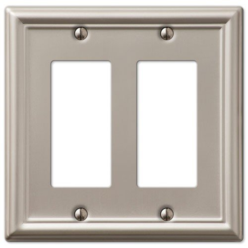 Brushed Nickel Double Rocker - Decorative Wall Switch Outlet Cover Plates (Brushed Nickel, Double Rocker GFCI)