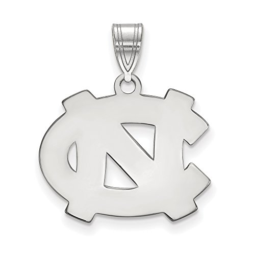 (LogoArt Sterling Silver North Carolina Tar Heels Medium Pendant)