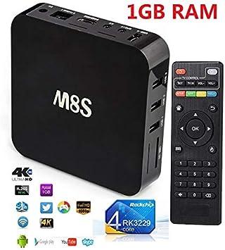M8s Android 7.1.2 HD Smart TV Box 4 K h.265 WiFi Quad Core 2 G + WiFi kodi Internet Streaming TV Procesador armv7 con Cable Mando a Distancia Fuente de alimentación: Amazon.es: Electrónica