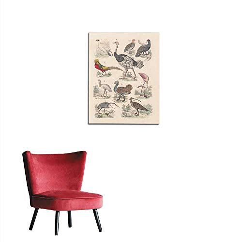 (longbuyer Corridor/Indoor/Living Room Birds Hand-Colored Lithograph published in Mural 16