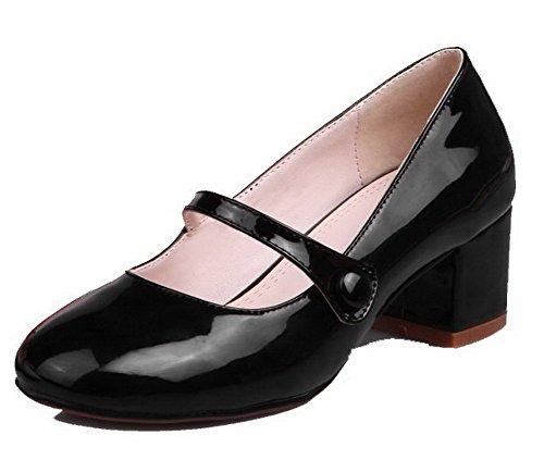 Odomolor Women's PU Solid Pull-On Round-Toe Kitten-Heels Pumps-Shoes, Black, 42