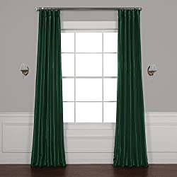 Half Price Drapes PTCH-JTSP208-108 Faux Silk Taffeta Curtain, Emerald Green