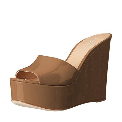 (YDN Women High Heels Platform Mules Peep Toe Clogs Slip On Wedge Sandals Slide Shoes Brown 7 )