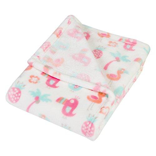 Pastel Nursery - Trend Lab Plush Baby Blanket, Pink Tropical Pastel