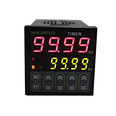 Inkbird 0.01s-99h99m Digital Twin Timer Switch Relay Time Controller AC 100 - 240V