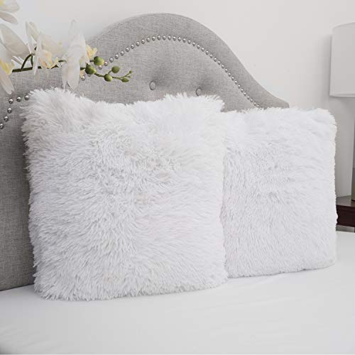 Sweet Home Collection Plush Pillow Faux Fur Soft and Comfy Throw Pillow (2 Pack), White (Shag Pillow White)
