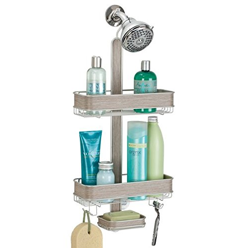 (mDesign Bathroom Three Tier Shower Caddy for Shampoo, Conditioner, Razors,Bar Soap - Satin/Gray Wood)