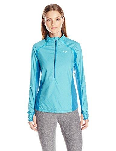 Mizuno Running Women's Breath Thermo Wind Top Half Zip Tee, X-Large, Capri/Blue -