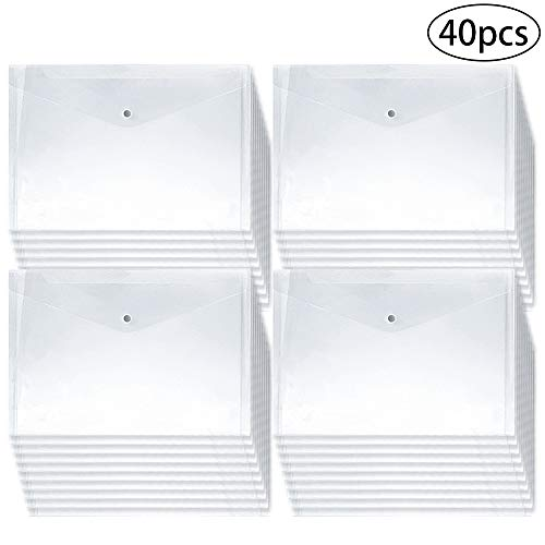 JPSOR 40pcs Plastic Envelopes,Clear Poly Envelope Waterproof File Folder with Snap Button, US Letter/A4 Size (Legal Size Clear Folder)