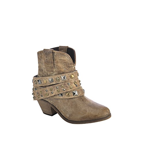 Corral Women's Studded Strap Ankle Boot Round Toe Tan 8.5 M US