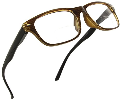 Trendy Bifocal Reading Glasses Readers with Spring Hinges for Men and Women [Black/Brown, 1.25]