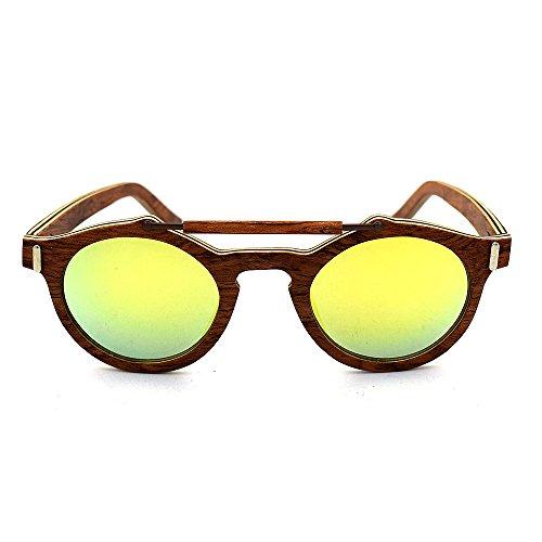 Azul Aclth Hechas a UV400 polarizadas Colores de protección Gafas Mano Dorado Lentes Unisex Madera Azul de Unisex Sol de TxCT4wrq