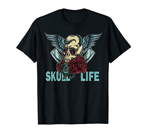 Skull Life Skulls Roses Wings and Vine Lovers Shirt T-Shirt
