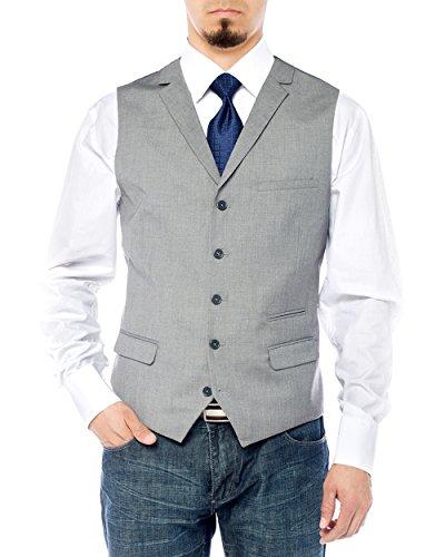 Salvatore Exte Men's Notch Lapel Casual Vest Modern Fit Dress Suit Waistcoat (42 US / 52 EU, Gray) (5 Button Vest)