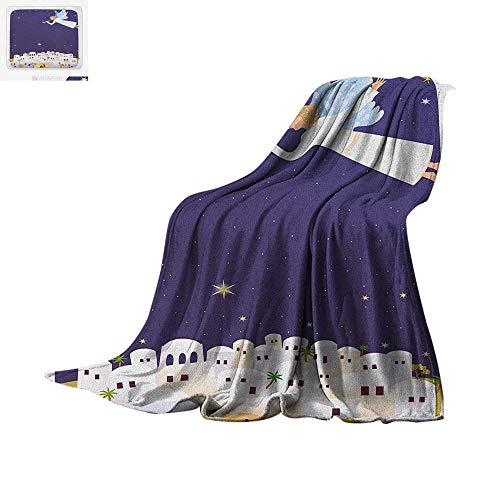 Religious Warm Microfiber All Season Blanket Religious Figure Themed Illustration Miraculous Event Starry Night Summer Quilt Comforter 60