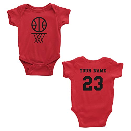 (Basketball Custom One Piece Bodysuit for Baby - Personalized Name and Number (6 Months, Red))